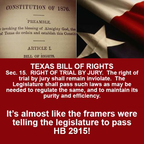 Texas Constitution Framers Tell Legislature to Pass HB 2915