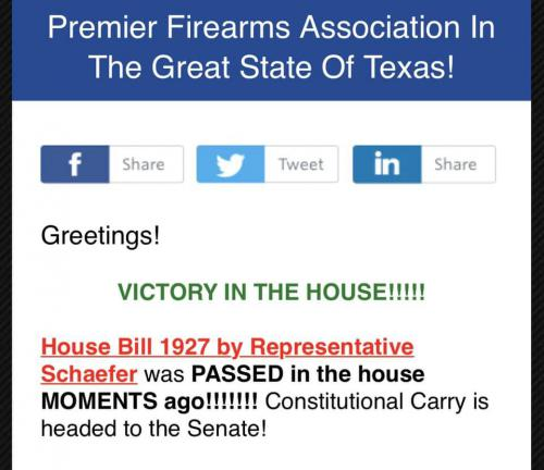 Constitutional carry passed in Tx